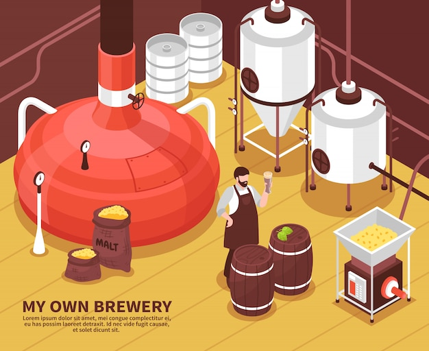 Cartel isométrico del propietario de la cervecería