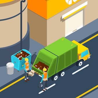 Cartel isométrico de recolección de basura