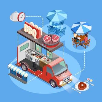 Cartel isométrico del servicio de camiones de comida callejera