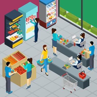 Cartel isométrico de la tienda de comestibles