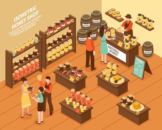 Cartel isométrico de la tienda de la granja de la miel