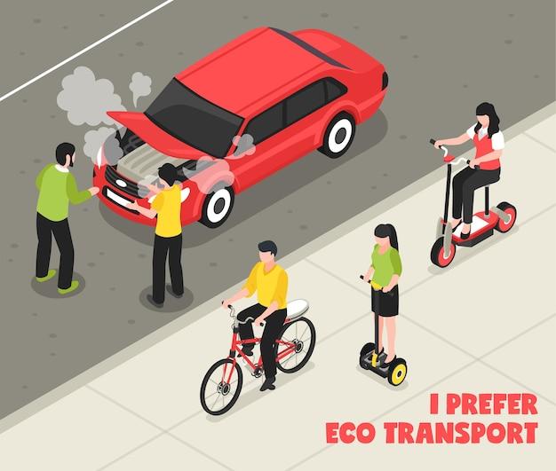 Cartel isométrico de transporte ecológico con personas que andan en scooter bicicleta segway pasando máquina de fumar