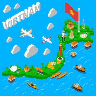 Cartel isométrico turístico del mapa de vietnam