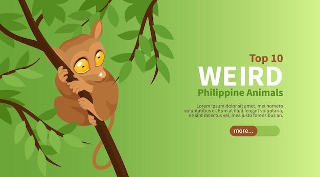 Cartel isométrico de viaje filipino con ilustración de animales raros superiores