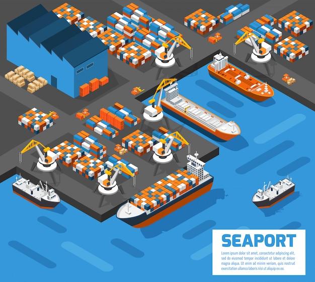 Cartel isométrico de la vista aérea del puerto marítimo