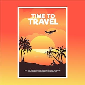 Cartel itinerante con avión y palmeras