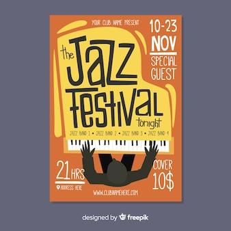Cartel de jazz dibujado a mano abstracto plantilla