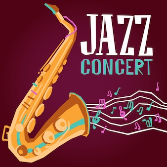 Cartel de jazz con saxofon
