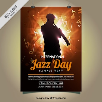 Cartel de jazz con silueta brillante