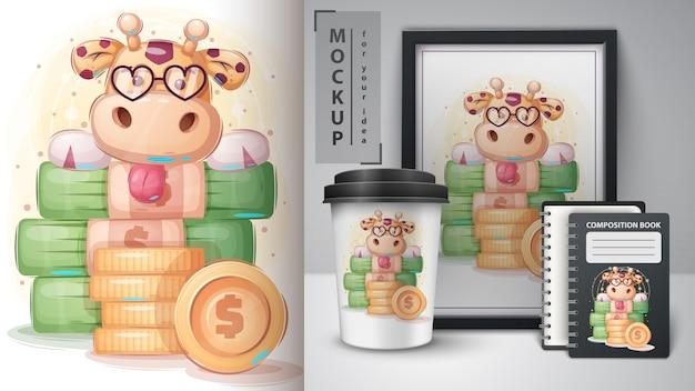 Cartel de jirafa banquero y merchandising.