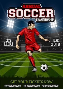 Cartel con jugador de fútbol.