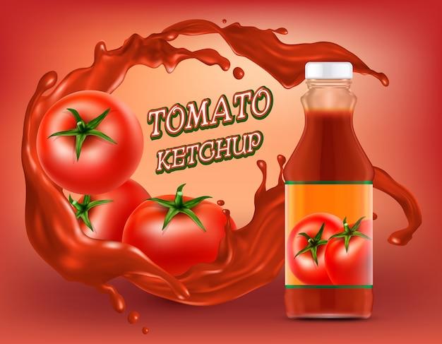 Cartel de ketchup en botella de plástico o vidrio con salpicaduras de tomate rallado
