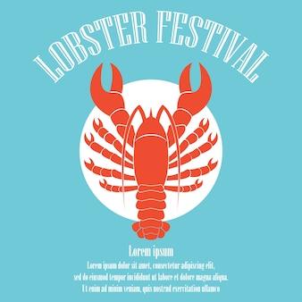 Cartel de la langosta para la plantilla del festival de la langosta. ilustración vectorial