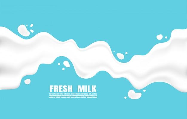 Cartel de leche fresca con salpicaduras sobre un fondo azul claro