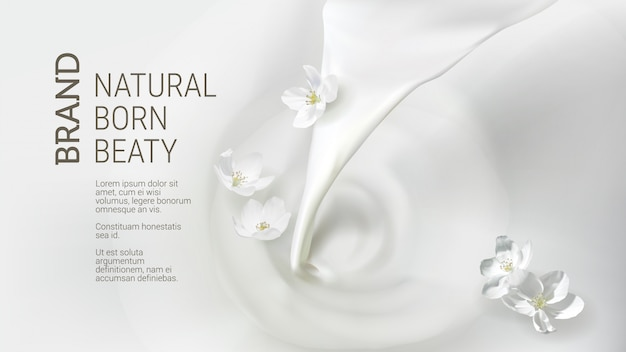 Cartel con leche vertiendo, cayendo flor de jazmín