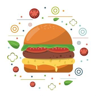 Cartel de lechuga de tomate de queso hamburguesa de comida rápida