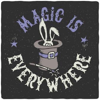 Cartel de letras divertidas con conejo mágico