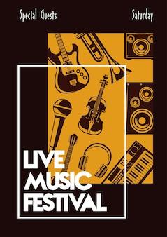 Cartel de letras del festival de música en vivo con instrumentos musicales.