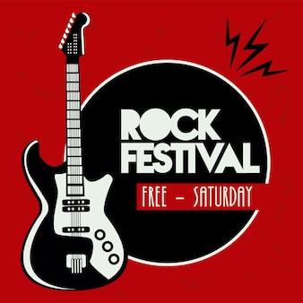 Cartel de letras del festival de rock live con instrumento de guitarra eléctrica