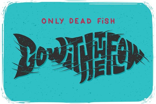 Cartel de letras con ilustración de pescado