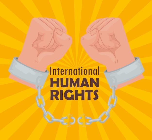 Cartel de letras internacionales de derechos humanos con manos rompiendo diseño de ilustración de esposas