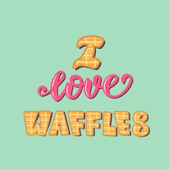 Cartel de letras me encantan los waffles