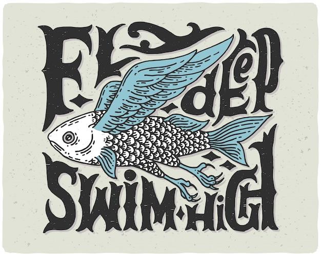 Cartel de letras con pez volador