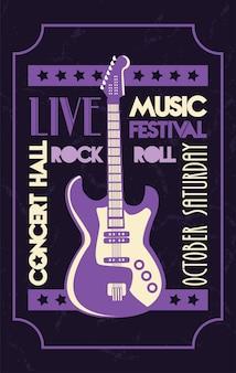 Cartel de letras de sala de conciertos en vivo con guitarra eléctrica