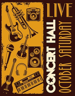 Cartel de letras de sala de conciertos en vivo con instrumentos
