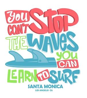 Cartel de letras de surf. camiseta relacionada con el surf.