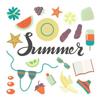 Cartel de letras de tipografía de verano bosquejado a mano