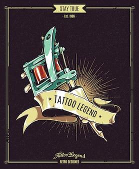 Cartel de leyenda del tatuaje