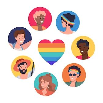 Cartel lgbtq vector concepto plano lesbiana gay bisexual transgénero y