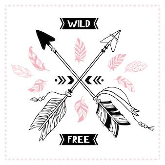 Cartel libre salvaje. flechas cruzadas tribales indias, ilustración de flecha de mohawk apache americano