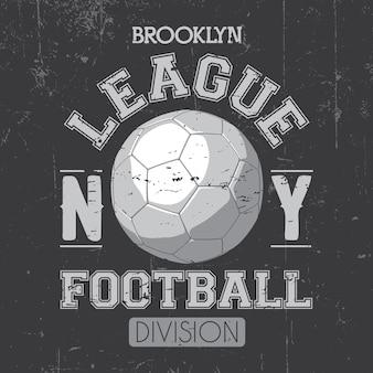 Cartel de la liga de brooklyn con una pelota de fútbol y división de palabras en la ilustración gris