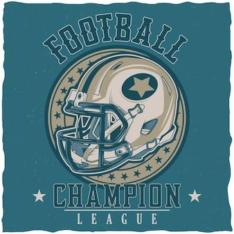 Cartel de la liga de campeones de fútbol americano