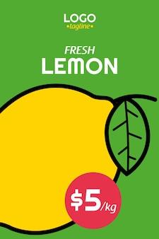 Cartel de limón fresco en orzuelo de diseño plano