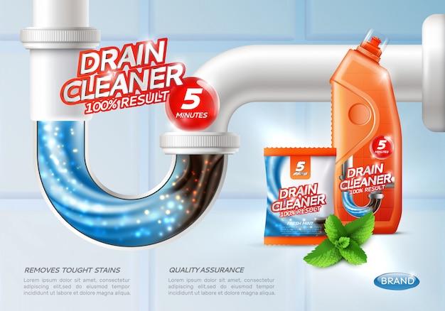 Cartel de limpiador de drenaje sanitario