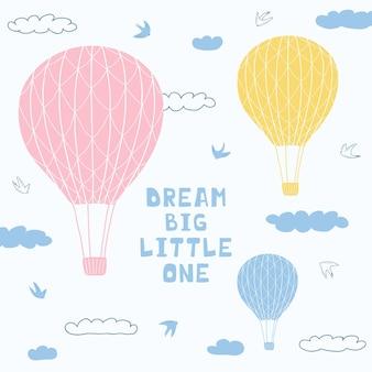 Cartel lindo con globos de aire y letras escritas a mano