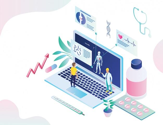 Cartel en línea de la aplicación de diagnóstico de salud