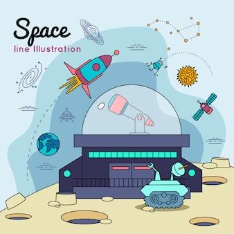 Cartel de línea de universo espacial