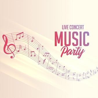 Cartel de líneas de notas musicales para eventos de fiesta.