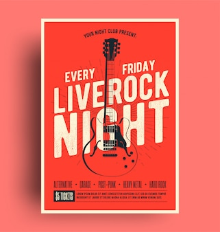 Cartel de live rock night con folleto de promoción de música en vivo
