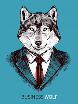 Cartel de lobo de negocios dibujados a mano