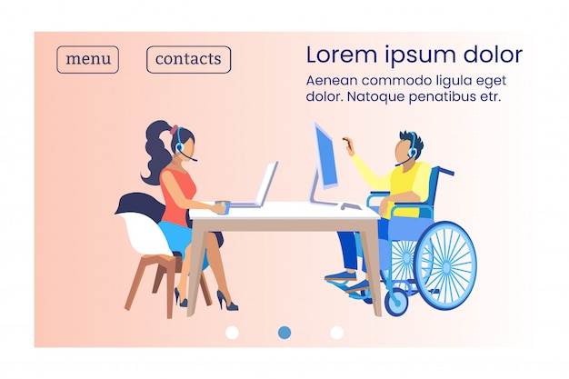 Cartel lugar de trabajo para personas con discapacidad. el operador de pancartas aprende de los mentores. hombre con discapacidad sentado en silla de ruedas en la oficina y hacer llamadas telefónicas. ilustración.