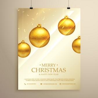 Cartel de lujo con bolas de navidad doradas y confeti