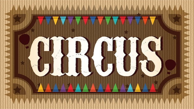 Un cartel de lujo del circo de madera