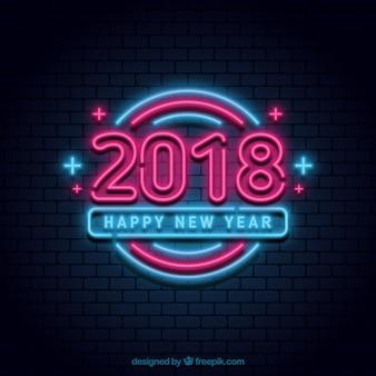 Cartel luminoso de neón de año nuevo