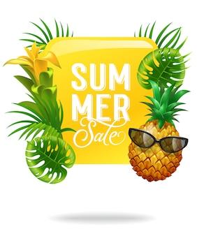 Cartel luminoso de venta de verano con hojas de palma, flor y piña en gafas de sol.