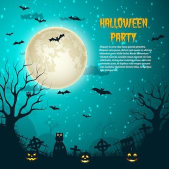Cartel de la luna de la noche de la fiesta de halloween con la luna brillante en el cielo estrellado de la noche y el cementerio cruza las tumbas planas